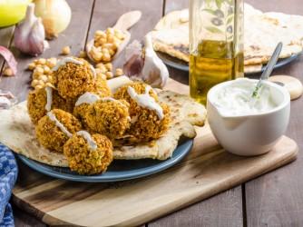 Falafel fried on naan bread