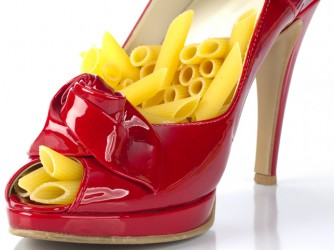 Pasta - portion of penne in red shoe