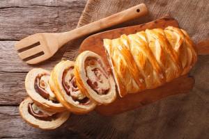 Venezuelan cuisine: Christmas loaf pan de jamon close-up. horizontal