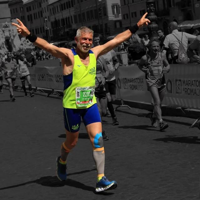 Giancarlo alla sua prima Maratona