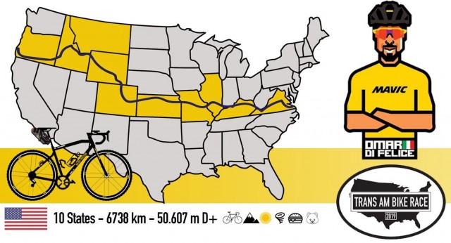 Trans Am Bike Race e il percorso che sta seguendo Omar