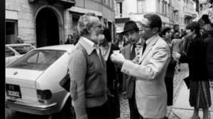 Una foto di Maurizio Bonazzi.1979 incontro tra Scalfari e Molossi