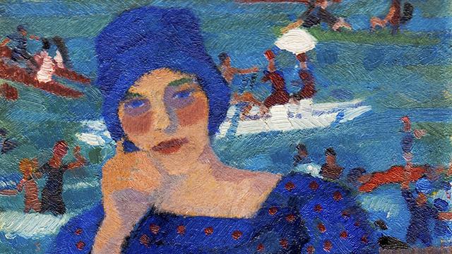 """""""Donna in blu"""", Moses Levy, 1917, (Tunisi, 1885, Viareggio 1968)"""