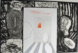 Senza titolo (con Fausto Melotti), un'opera grafica di Mimmo Paladino del 2007