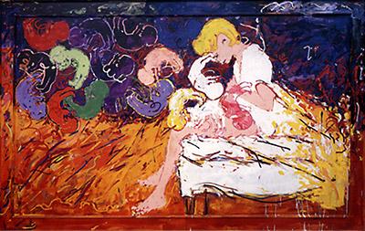 In alto: l'opera che Schifano dedicò a Mazzoli e a sua moglie