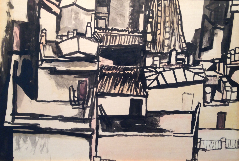 Guttuso, Tetti, 1961, china acquerellata su cartone, 34 x 50 cm