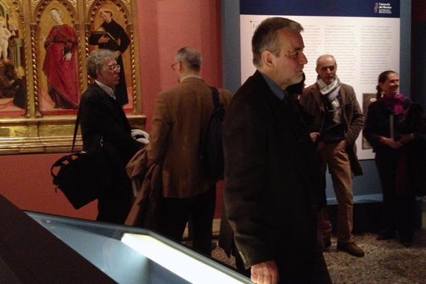 Marco Tanzi durante l'inaugurazione della sua mostra dedicata ai Tarocchi di Bembo, Milano - Pinacoteca di Brera, 2012