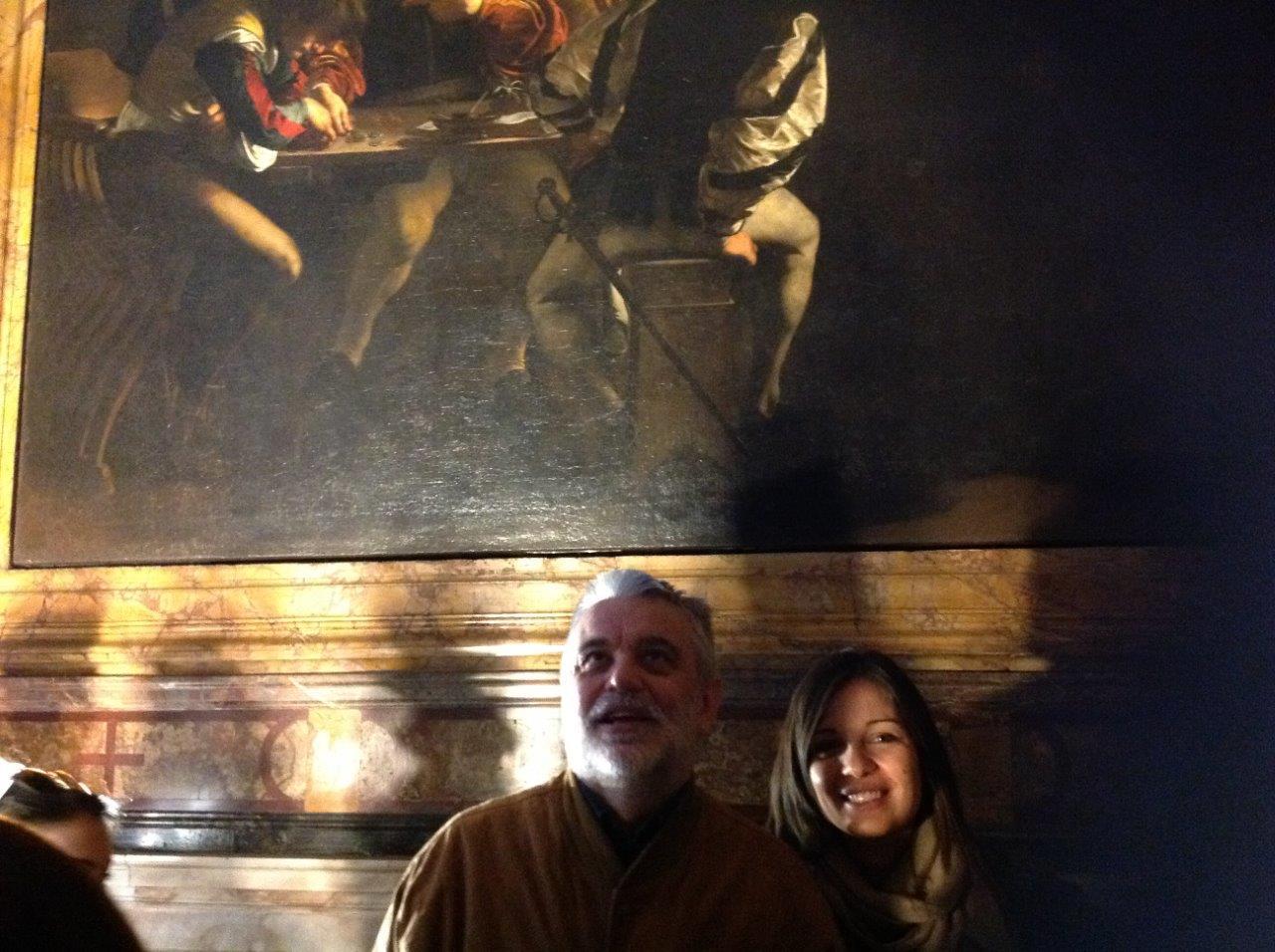Con la figlia Beatrice e gli studenti dell'Università del Salento dinnanzi a un Caravaggio, Roma 2014