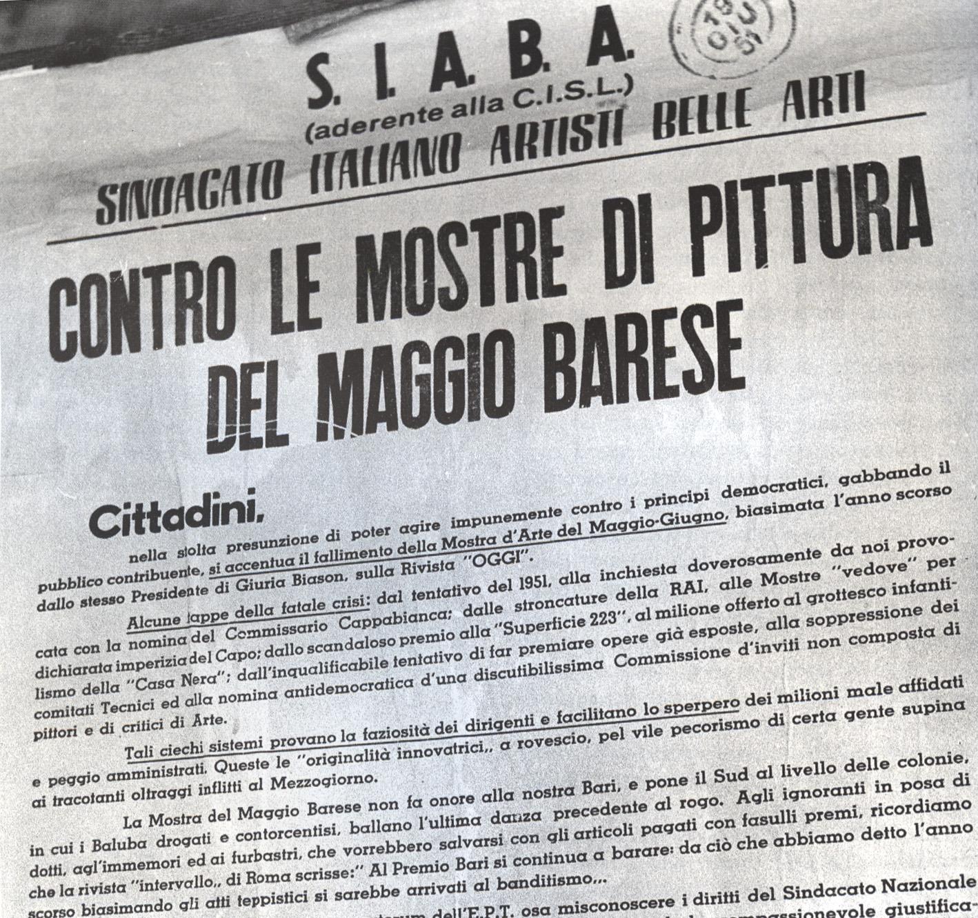 """La foto di un manifesto sindacale che tuonava peste e corna contro la mostra del Maggio di Bari 1958 (premio a Gentilini) che """"non fa onore alla nostra Bari""""."""