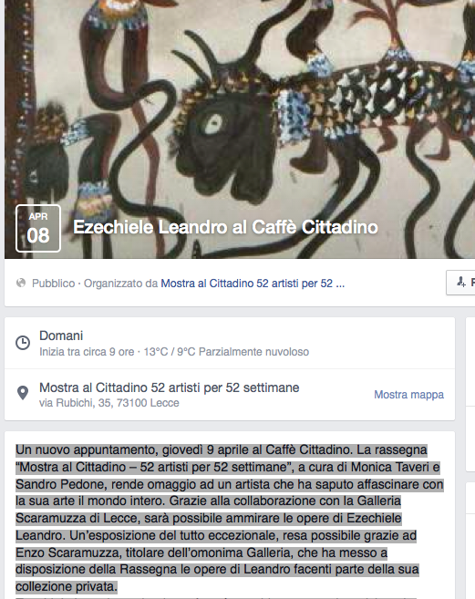 Screenshot della pagina facebook dedicata alla mostra di Leandro al Caffè Cittadino di Lecce