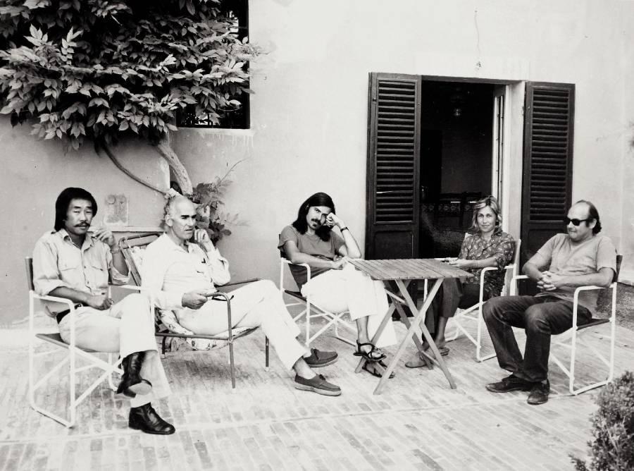Hidetoshi Nagasawa, Lorenzo Bonomo, Mel Bochner, Marilena Bonomo e Sol Lewitt a Spoleto, 1971.