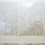 Imran Perretta, FSWAD, 2015 Crema sbiancante per la pelle emulsionata ad acrilico su coperte termiche, Orologio sveglia, busta di plastica