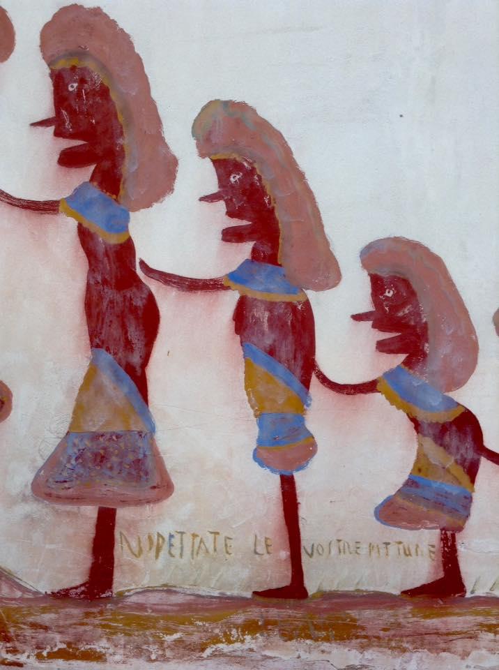"""Dettaglio del dipinto murale """"Rispettare le vostre pitture"""". Ph. Daniele D'Acquisto"""