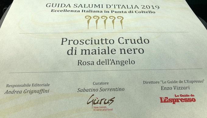 Premio Rosa dell'Angelo - Guide Salumi L'Espresso 2019bis