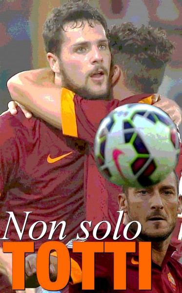 AS Roma's Destro celebrates with  teammate Florenzi after scoring a goal against Hellas Verona during their Italian Serie A soccer match in Rome