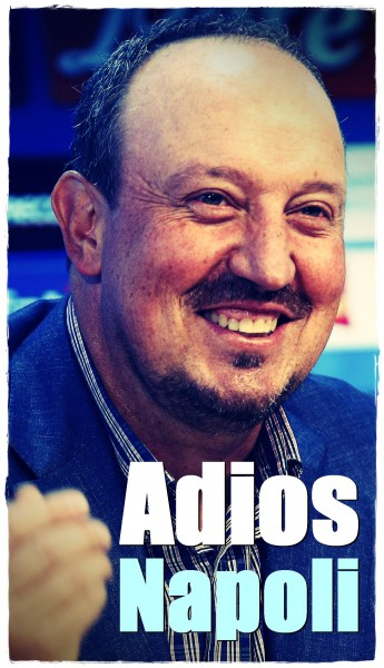 Napoli coach Rafa Benitez gestures during a news conference in Naples