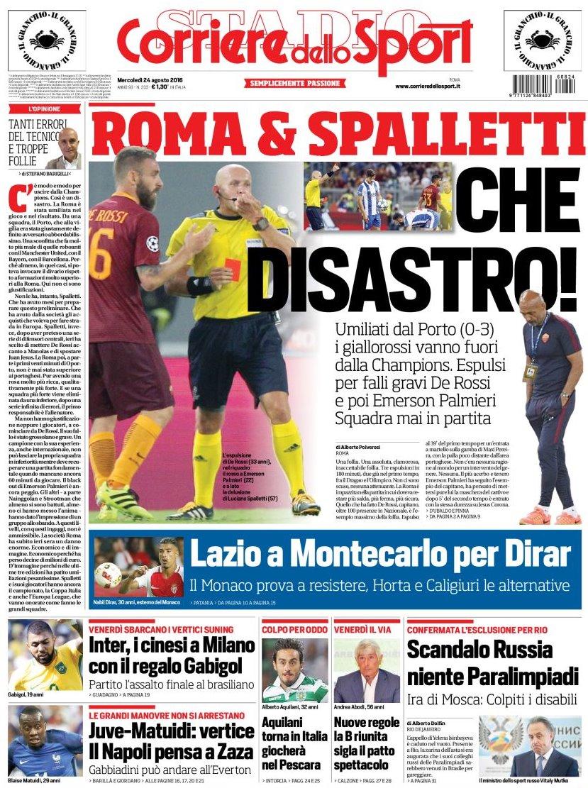 Corriere dello Sport disastro Roma e Spalletti