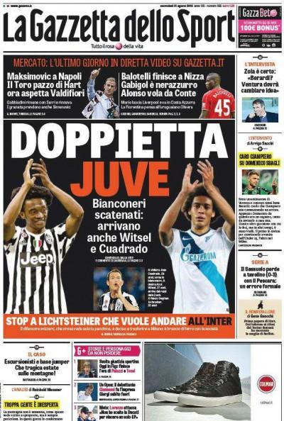 Gazzetta dello Sport Doppietta Juve