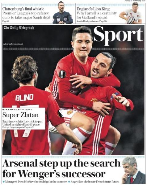 Daily Telegraph Ibra Wenger