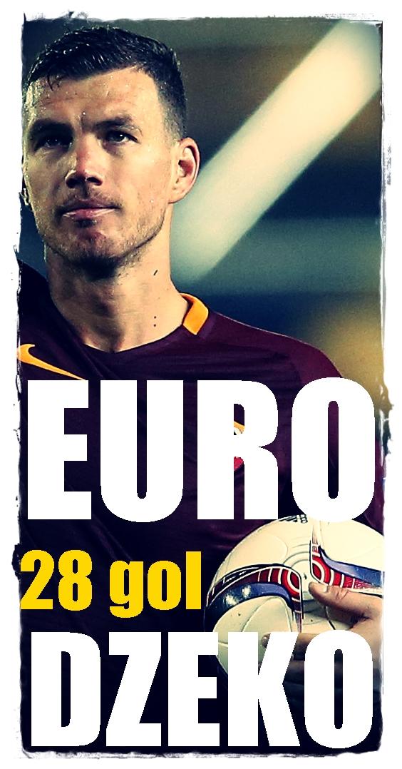 Roma's Edin Dzeko celebrates after the game