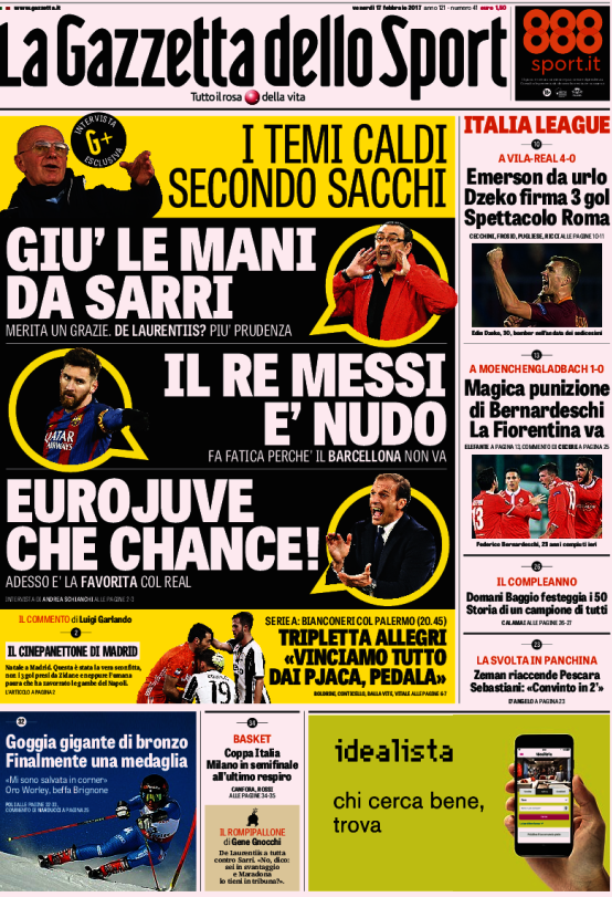 Gazzetta Sport Sacchi