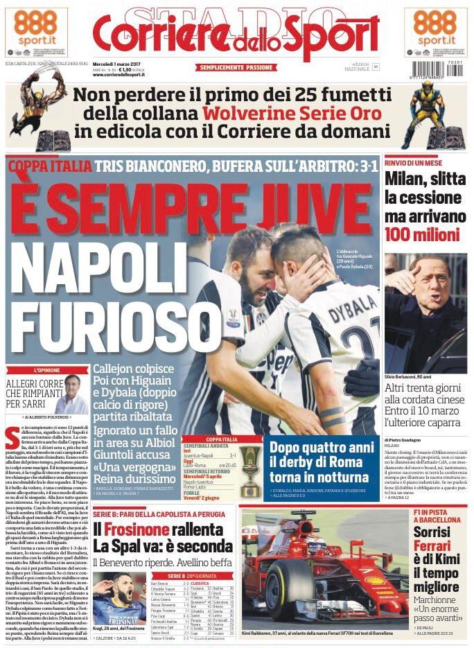 Corriere Sport Napoli furioso