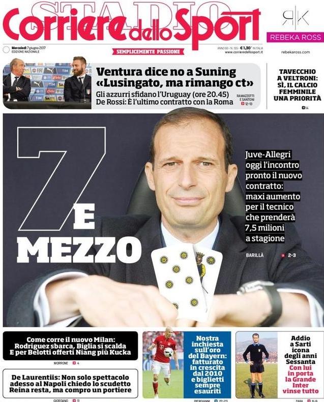 Corriere Sport Allegri 7 e mezzo