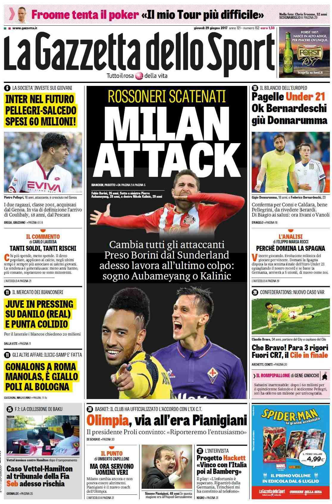 Gazzetta Milan attacco