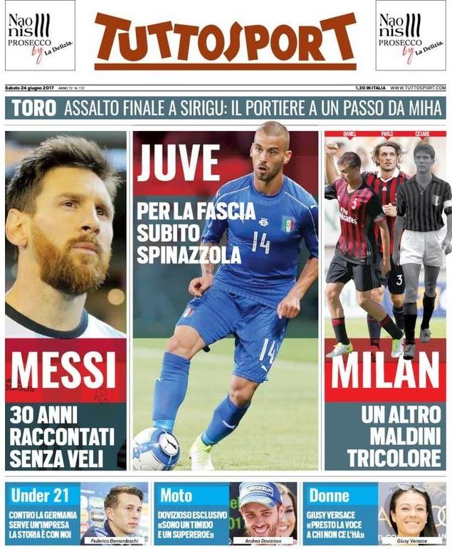 Tuttosport Messi Juve Milan
