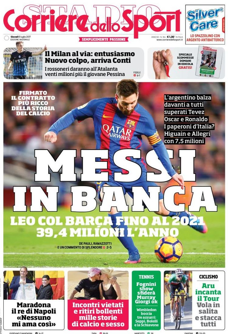 Corriere Sport Messi in banca