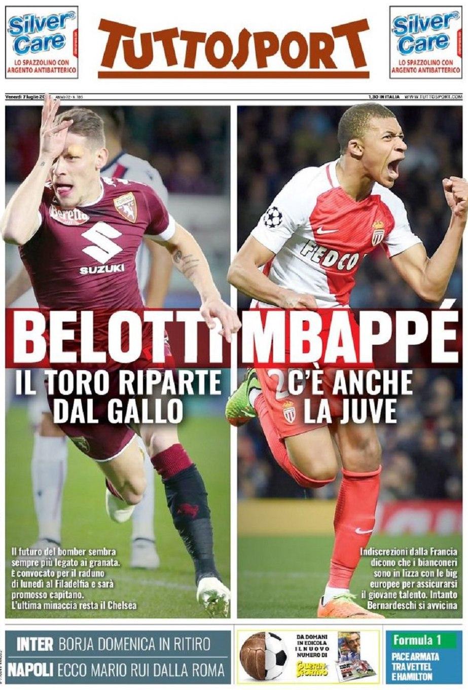 Tuttosport Belotti Mbappe