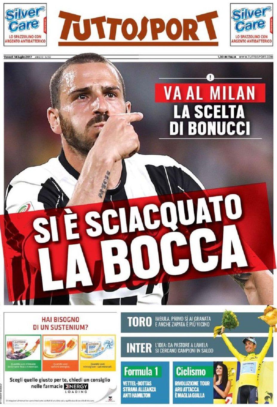 Tuttosport Bonucci Bocca