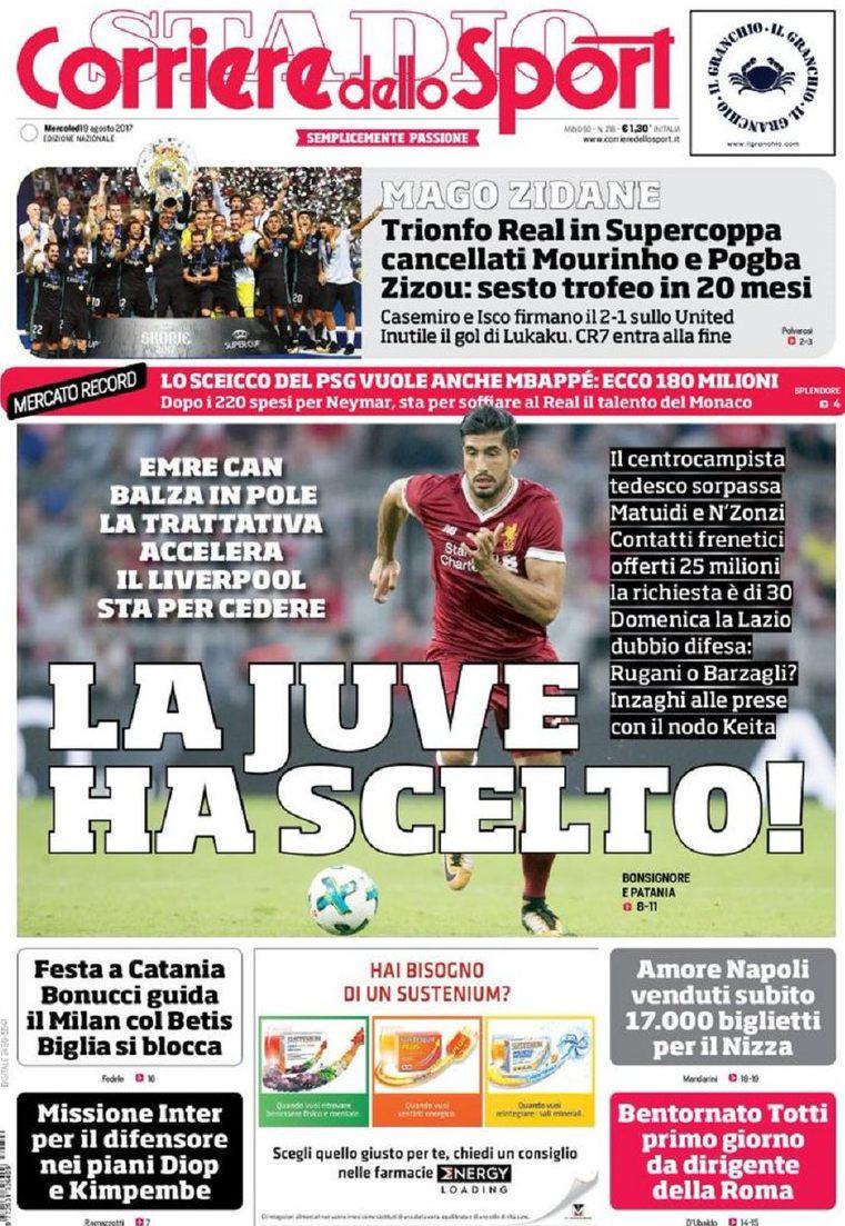 Corriere sport Juve ha scelto