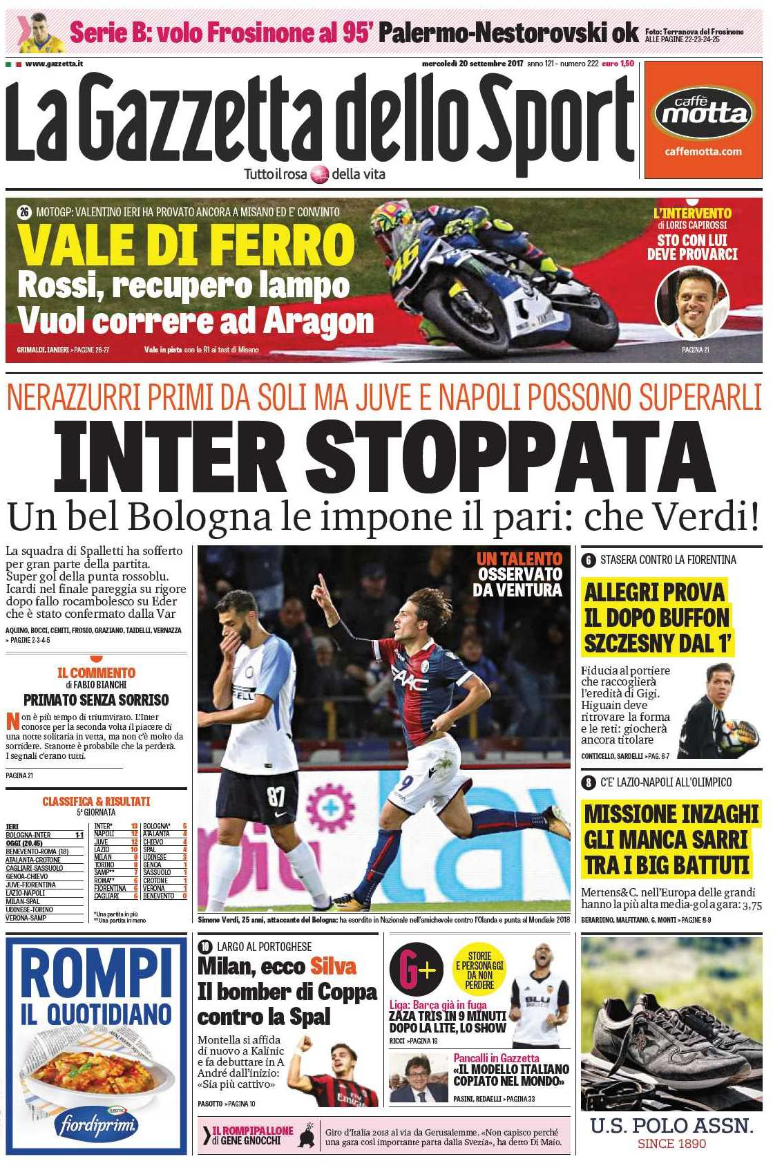 Gazzetta Inter stoppata