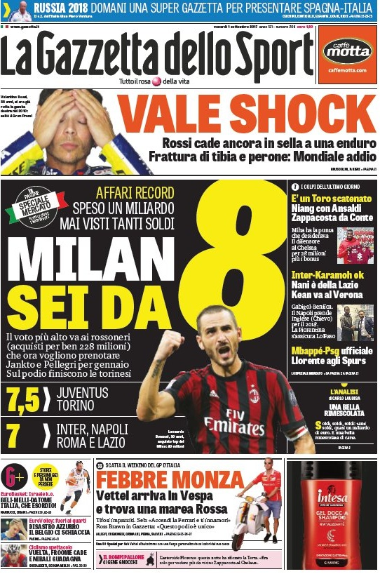 Gazzetta Milan sei da 8