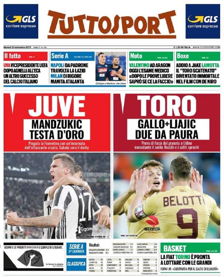 Tuttosport Juve Toro