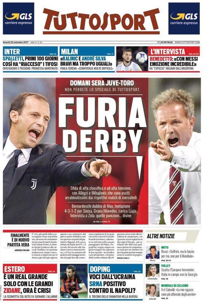 Tuttosport furia derby