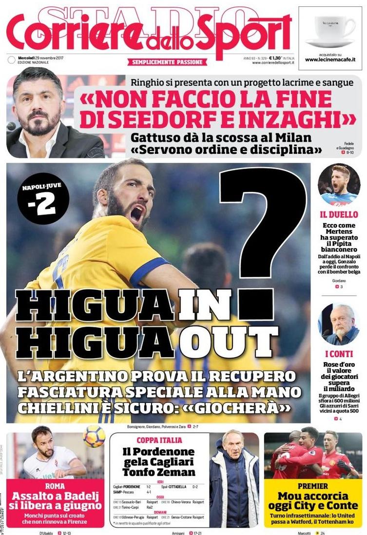 Corriere sport Gattuso Higuain