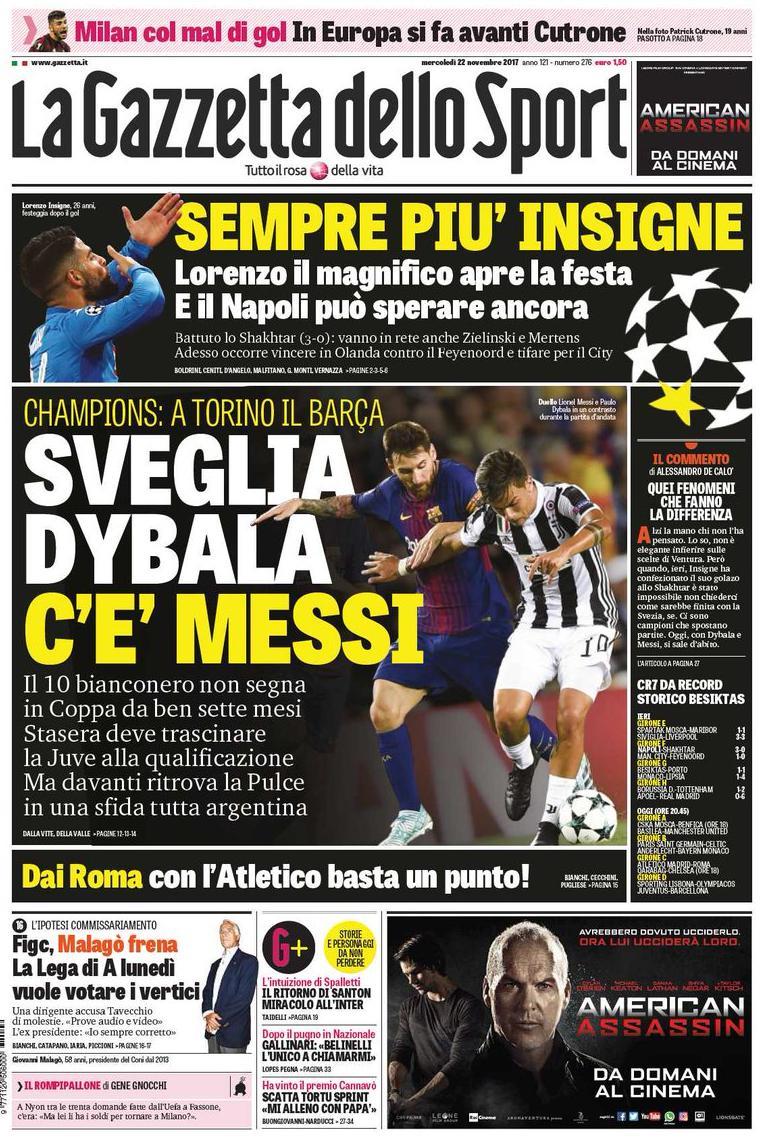 Gazzetta Insigne dybala Messi