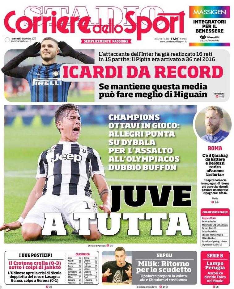 Corriere sport Juve a tutta
