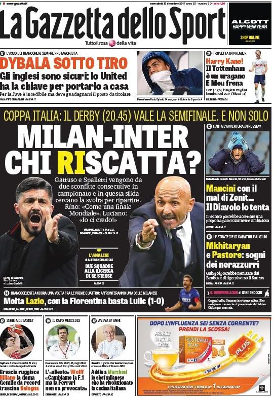 Gazzetta Milan Inter