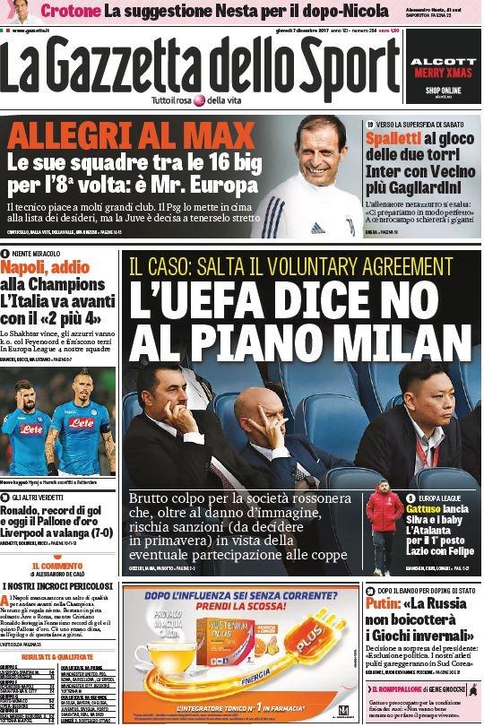 Gazzetta Uefa Milan