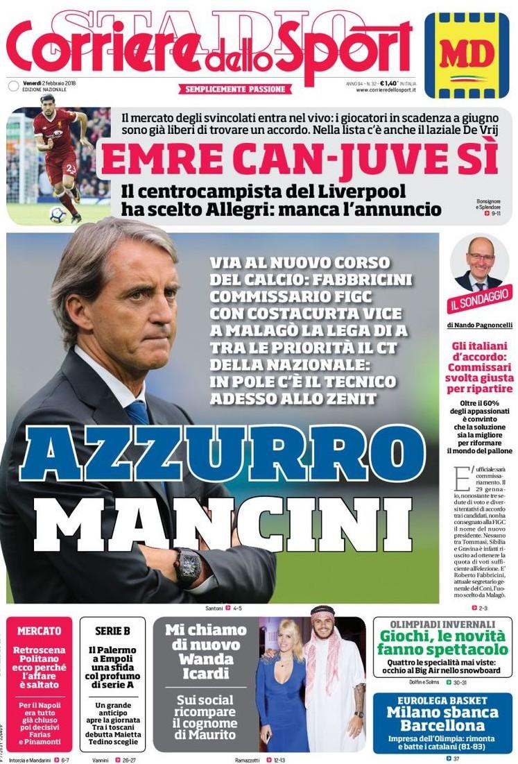 Corriere sport azzurro Mancini