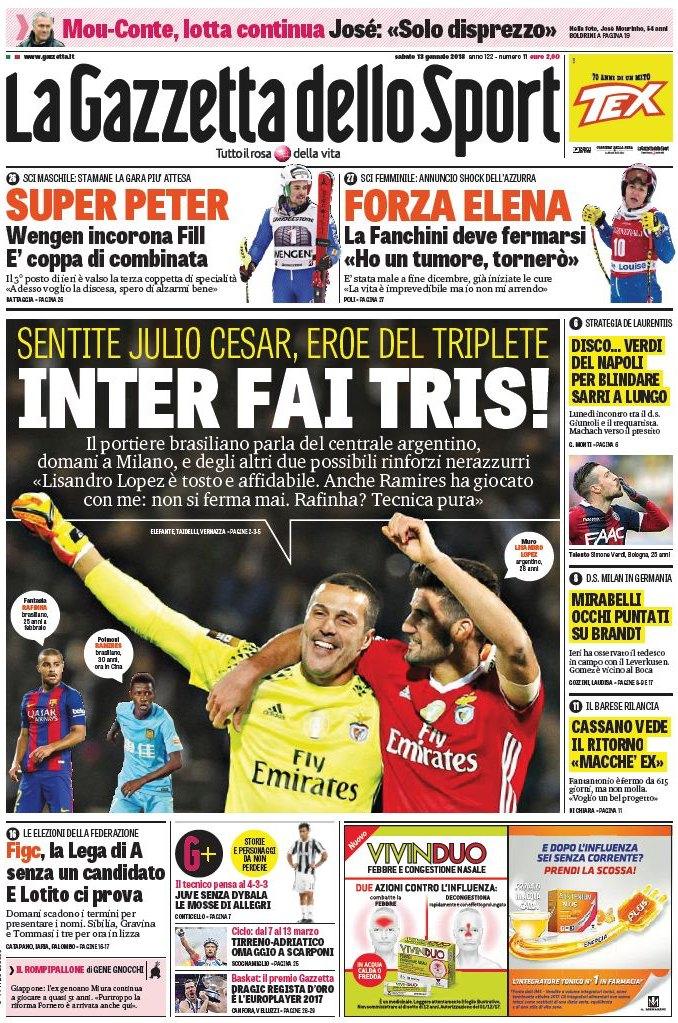Gazzetta Inter tris