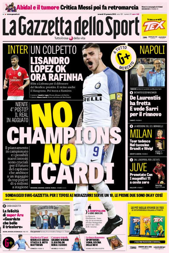 Gazzetta No Champions No Icardi
