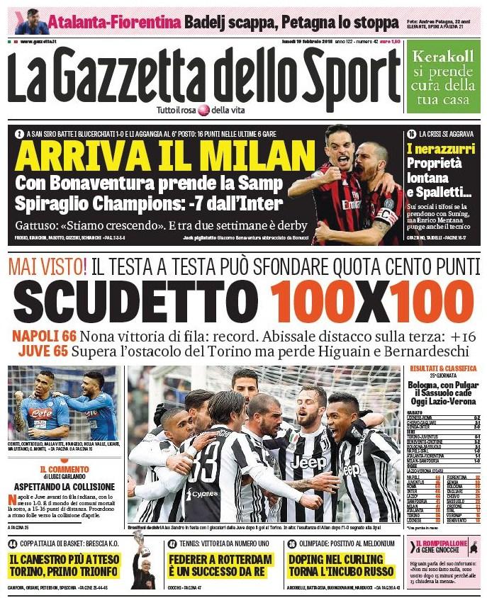 Gazzetta scudetto 100