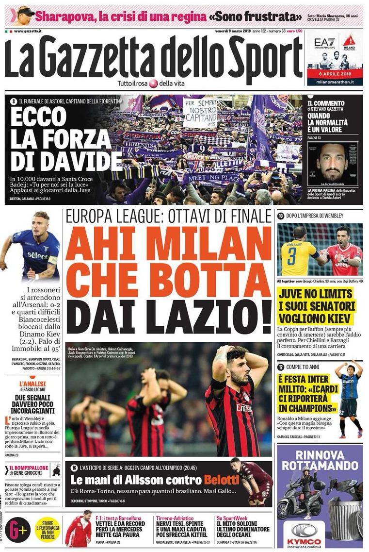 Gazzetta Milan botta