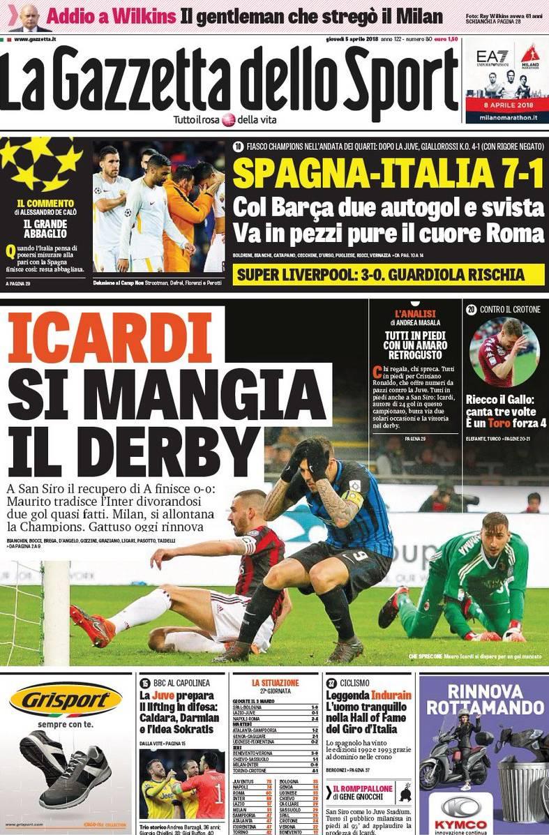 Gazzetta Icardi mangia derby