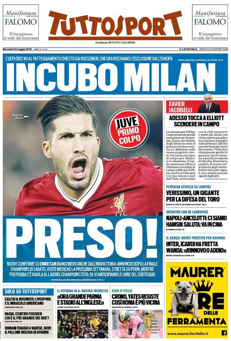 Tuttosport incubo Milan