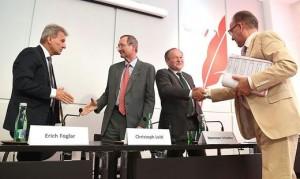 17.07.03 Erich Foglar, Christoph Leitl, Hermann Schultes, Rudolf Kaske (accordo Mindestlohn)